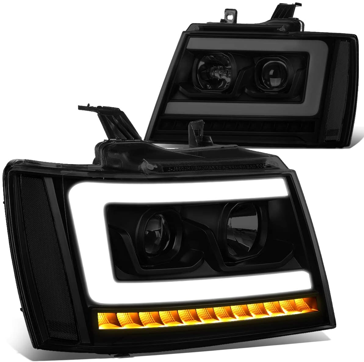 Pair LED DRL+Sequential Turn Signal Projector Headlight Lamp Replacement for 07-14 Tahoe/Suburban/Avalanche Tinted/Clear