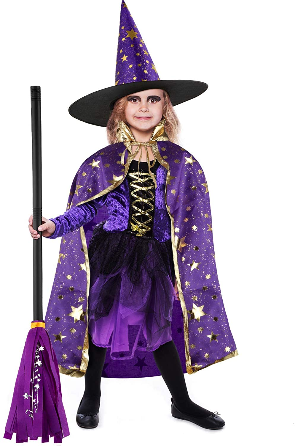 Sumind 3 Pieces Halloween Costumes Witch Wizard Cape Witch Cloak Witch Broomstick
