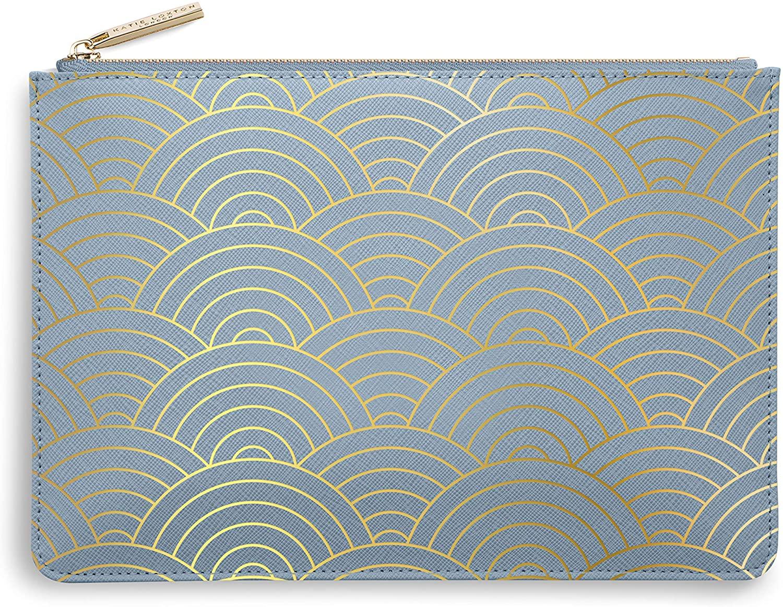 Katie Loxton Wave Print Women's Medium Vegan Leather Clutch Perfect Pouch Metallic Blue