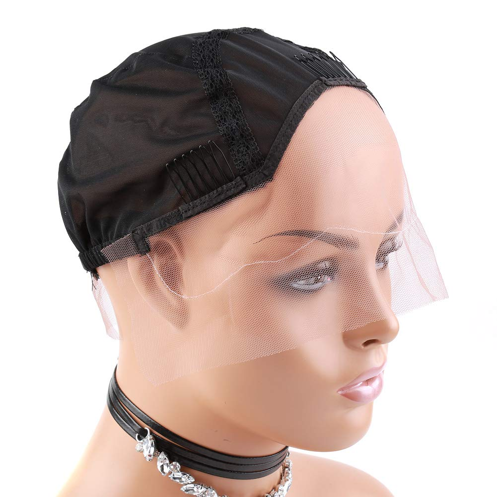 Bella Hair Upgraded Ventilated Lace Front Wig Cap for Black Women Making Wigs with Adjustable Straps and Combs, Black Medium Size