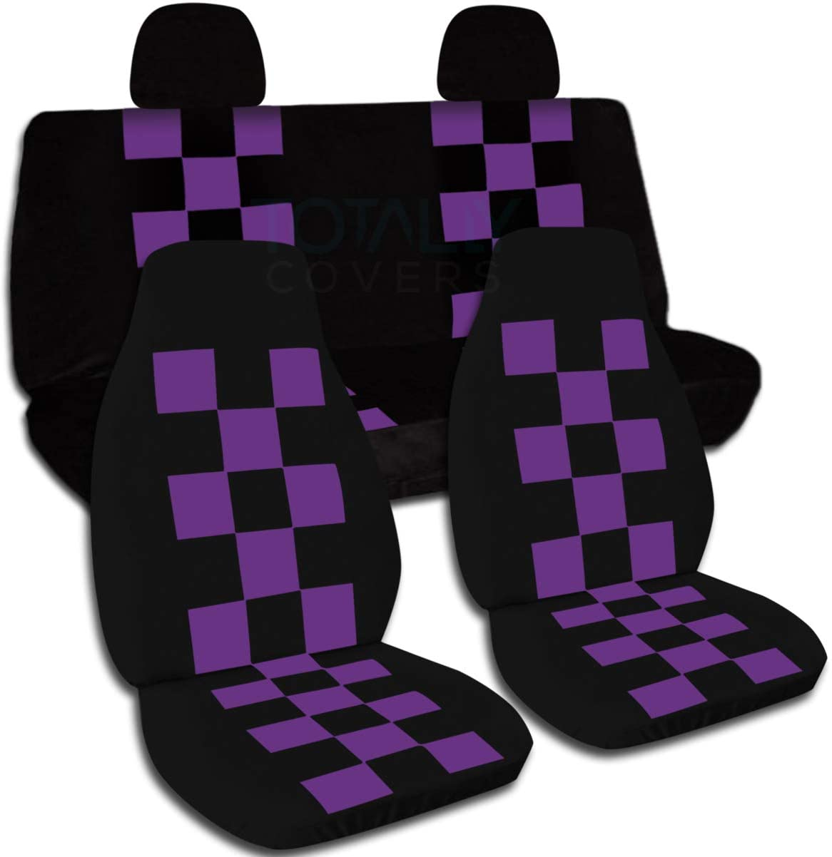 Totally Covers Checkered Car Seat Covers w 2 Rear Headrest: Black & Purple Checkers Universal Fit Full Set Front Buckets & Rear Bench Option for Airbag/Seat Belt/Armrest/Release/Lever/Split