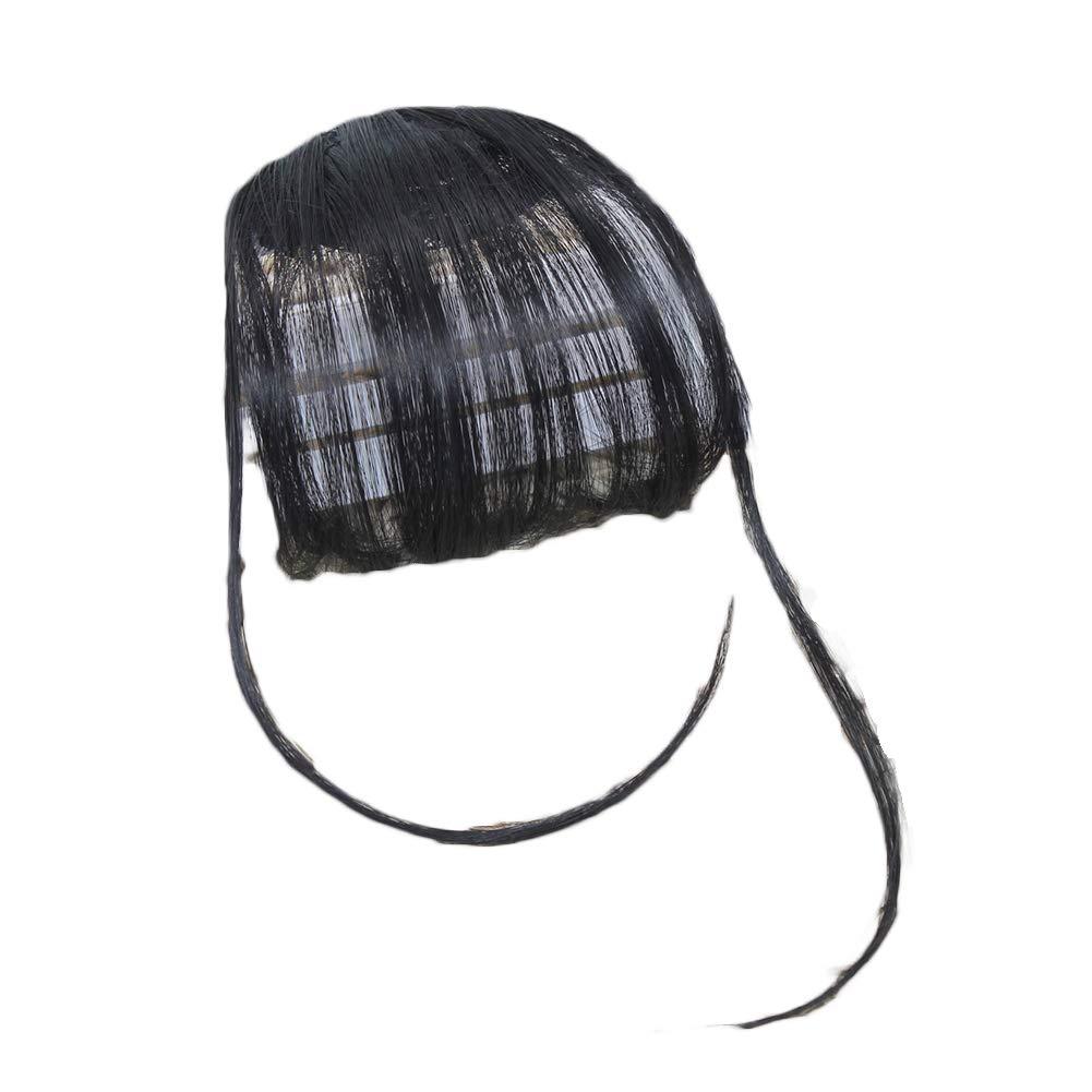ManFull Hairpiece Fake Hair Wig,Women Fake Hair Clip Air Bangs Wig Full Thin Neat Fringe Extension Hairpiece Black Brown with Sideburn