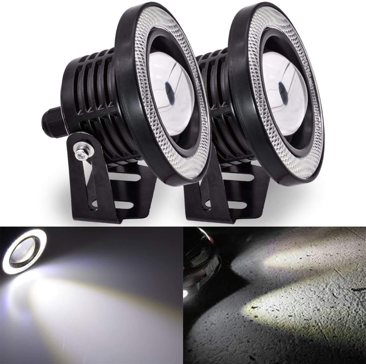 TUINCYN 3.5 Inch LED Fog Light White COB Halo Angel Eye Rings Used for Daytime Running Light DRL Car Driving Lights Projector Unversal RGB LED DC 12V-16V 3200 Lumens (Pack of 2)