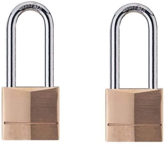 MroMax 2Pcs Padlock 60mm Width Brass Metal Lock Key for Toolbox Cabinet Door Room Jewelry Case Keyed Different HL406B Brass Tone