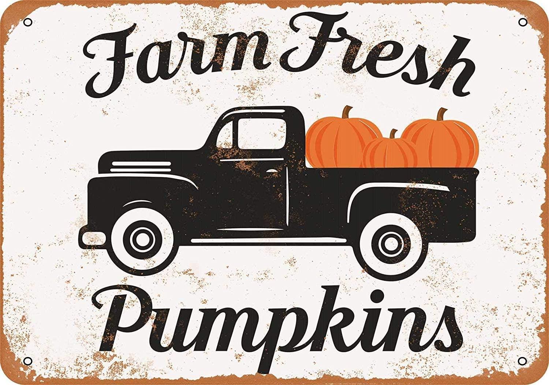 Treasun Metal Sign - Vintage Look Farm Fresh Pumpkins 8 x 12 Inches