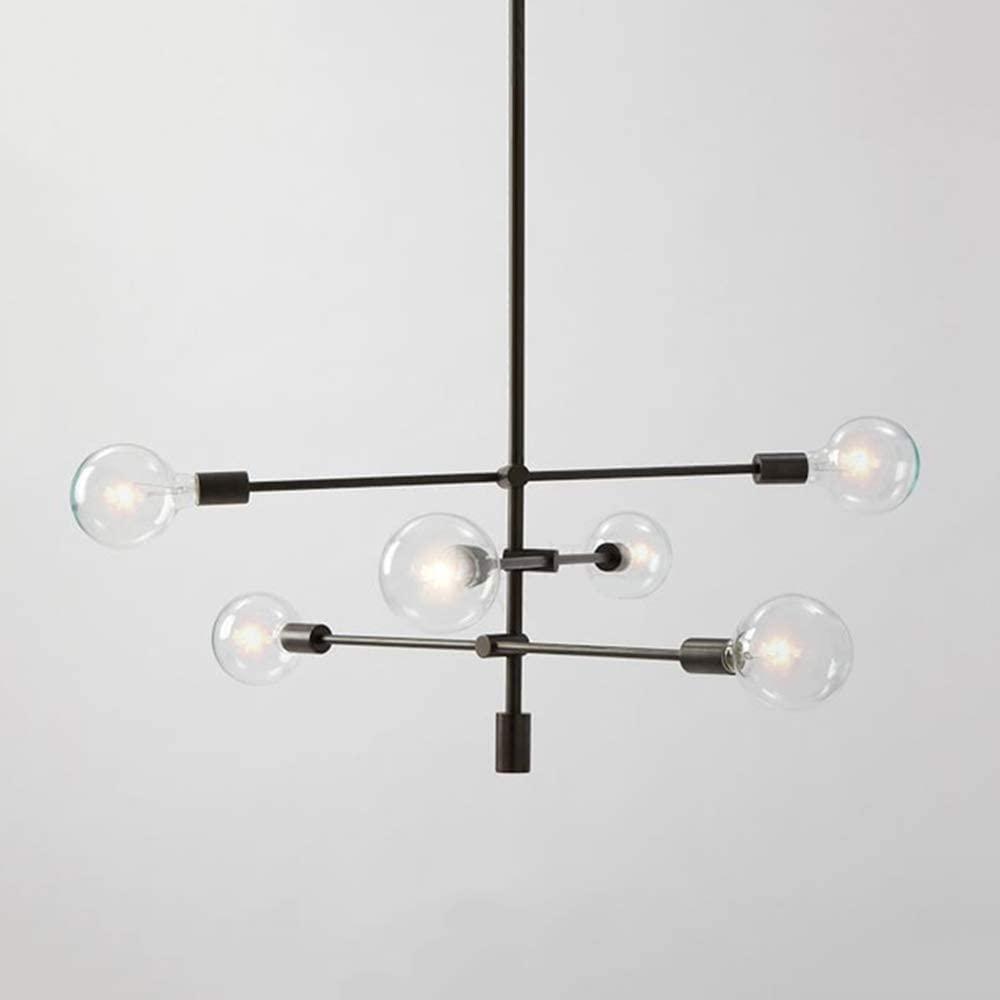 KWOKING Lighting Modern Metal Geometric Chandelier Minimalist Open Bulb Suspension Lighting Fixture Industrial Mid Century Ceiling Pendant Light for Living Room Bedroom in Black