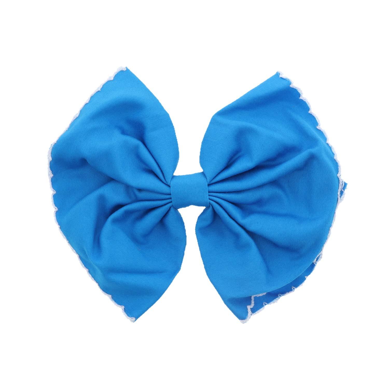 Scalloped Edge Bow Hair Clip Large Blue