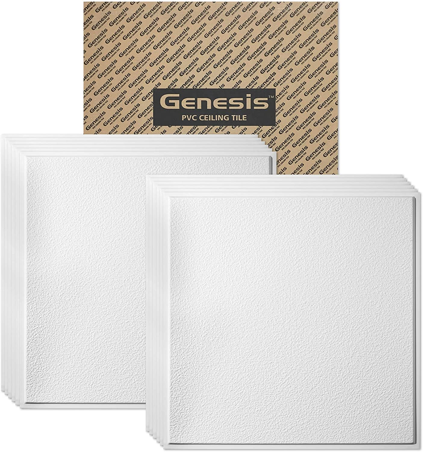 Genesis 2ft x 2ft White Stucco Pro Revealed Edge Ceiling Tiles - Easy Drop-in Installation – Waterproof, Washable and Fire-Rated - High-Grade PVC to Prevent Breakage - Package of 12 Tiles