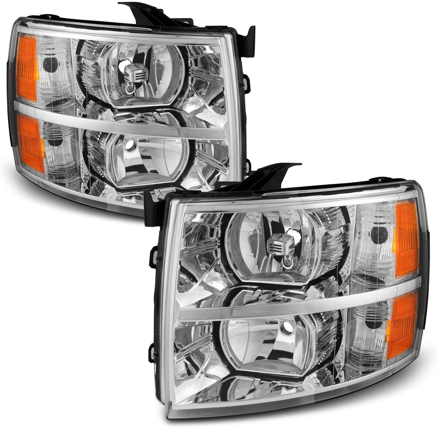 For Chevy Silverado Replacement Chrome Bezel Headlights Driver/Passenger Head Lamps Pair New