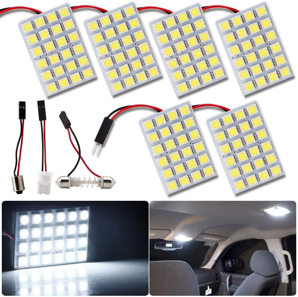 RUICA Energy-Saving LED Panel Dome Light Auto Car Reading Interior Light Roof Ceiling Wired Lamp 5050 24SMD DC12V White with BA9S T10 Festoon Adapters Pack-6