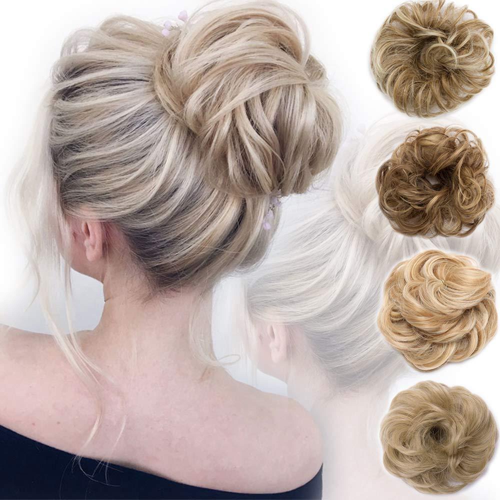 Messy Bun Hair Piece Scrunchy Updo Hair Pieces for Women Fluffy Wavy Hair Bun Scrunchies Donut Hairpiece Synthetic Chignons With Elastic Rubber Band Light Auburn & Dark Blonde 1 pc