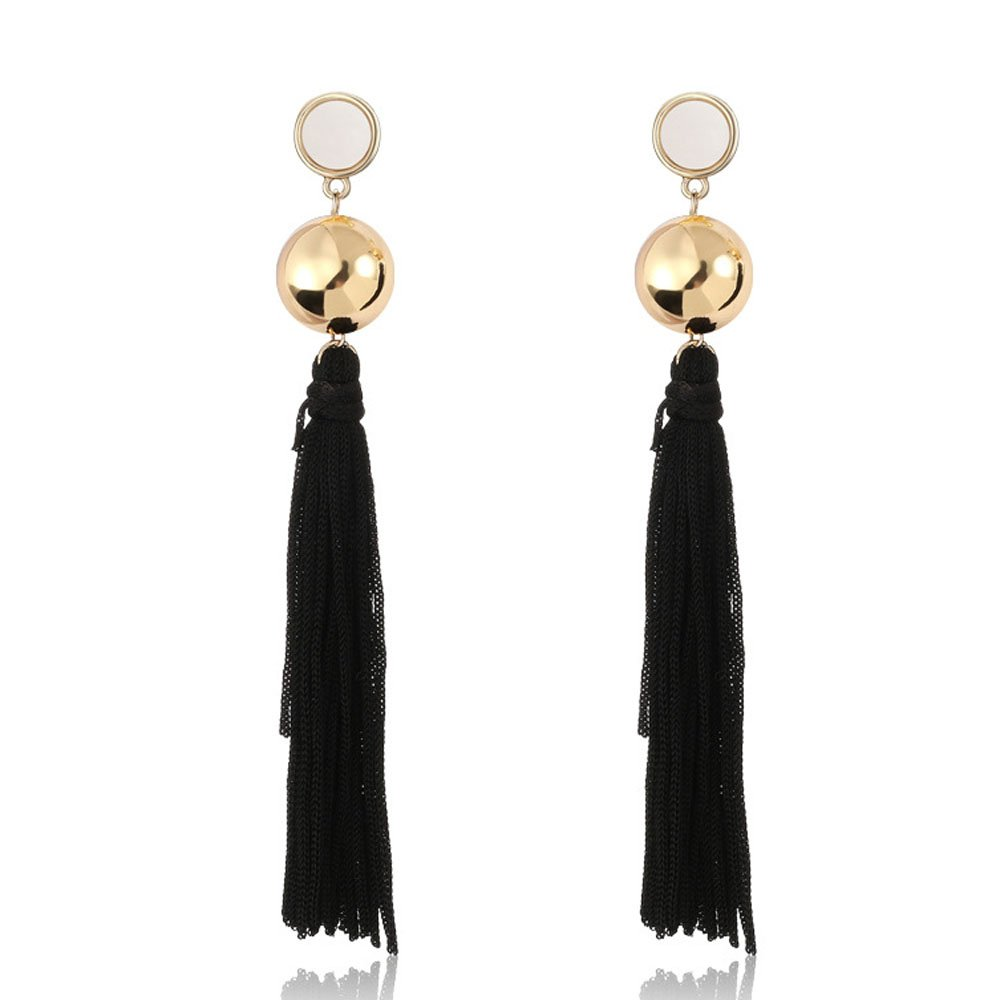 FXmimior Fashion Women Vintage Earrings Essential Black Tassel Earrings for Christmas Xmas Jewelry for Chic Girl Women