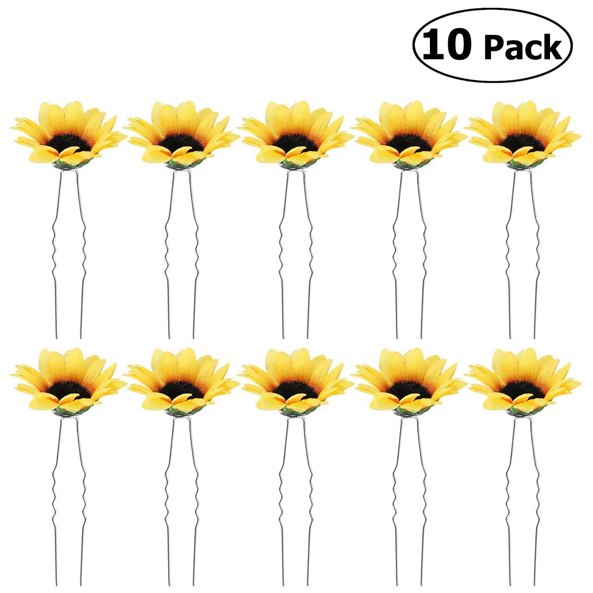 Frcolor Bridal Daisy Sunflower Hair Pins Hair Clips for Wedding,10PCS