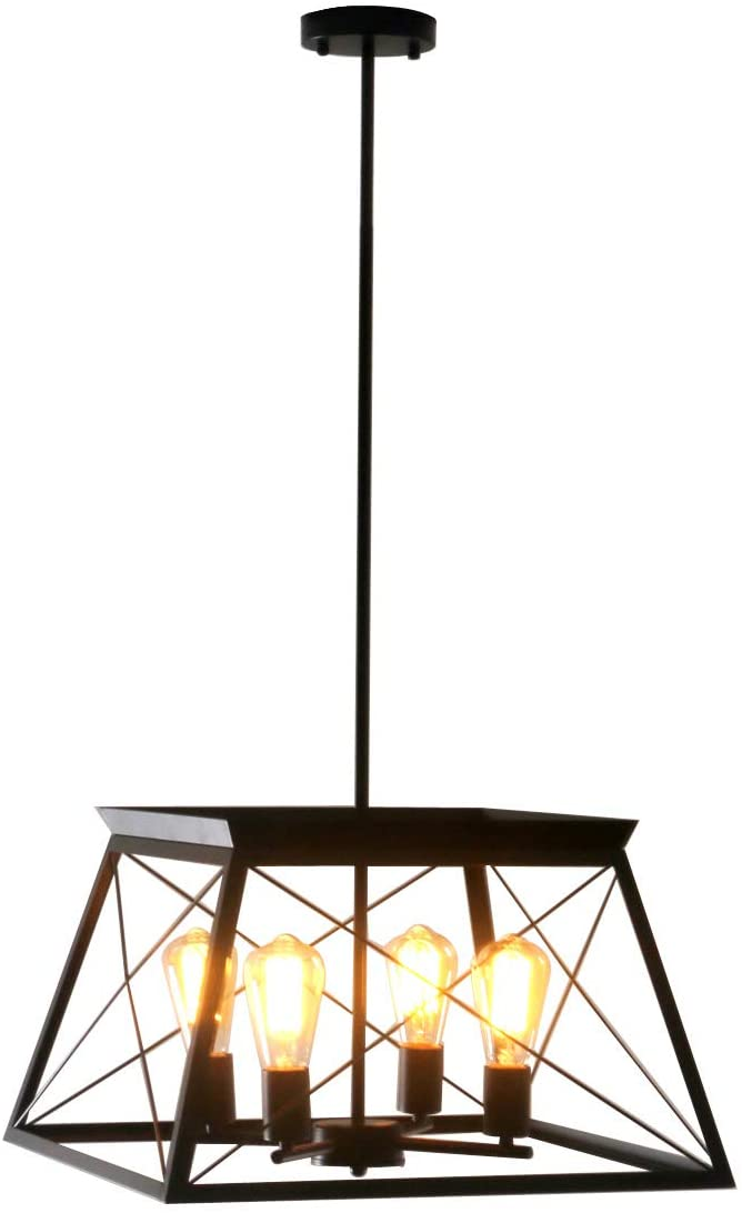 Unitary Brand Antique Black Metal Wrought Iron Dining Room Pendant Light Fixture with 4 E26 Bulb Sockets 240W Painted Finish