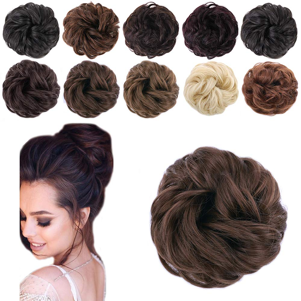 KETHBE 1pcs Messy Hair Bun Extensions Curly Wavy hair Synthetic Chignon Hairpiece Scrunchie Scrunchy Updo Hairpiece for women (Dark Brown)