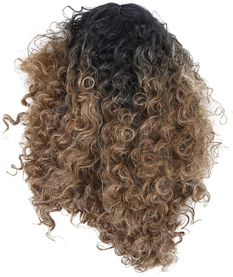 Enrilior Long Curly Wavy Wigs Women Female Synthetic Hair Brown Middle Part Wigs