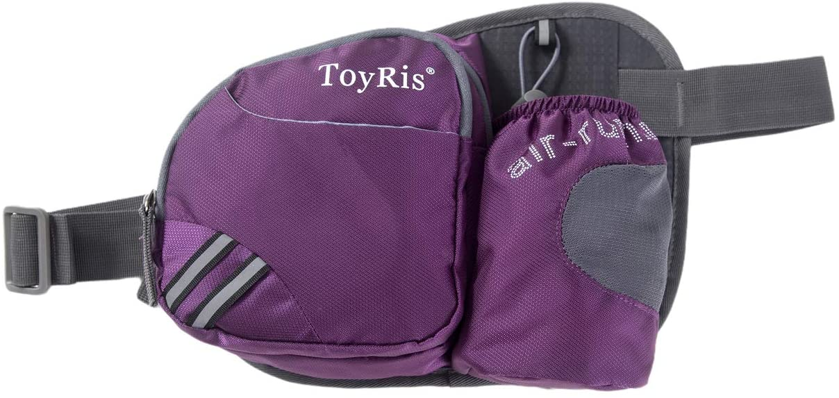 ToyRis Hiking Outdoor Waist Belt Fanny Pack with Water Bottle Holder for Men Women can fits All Sizes& All Phone Models
