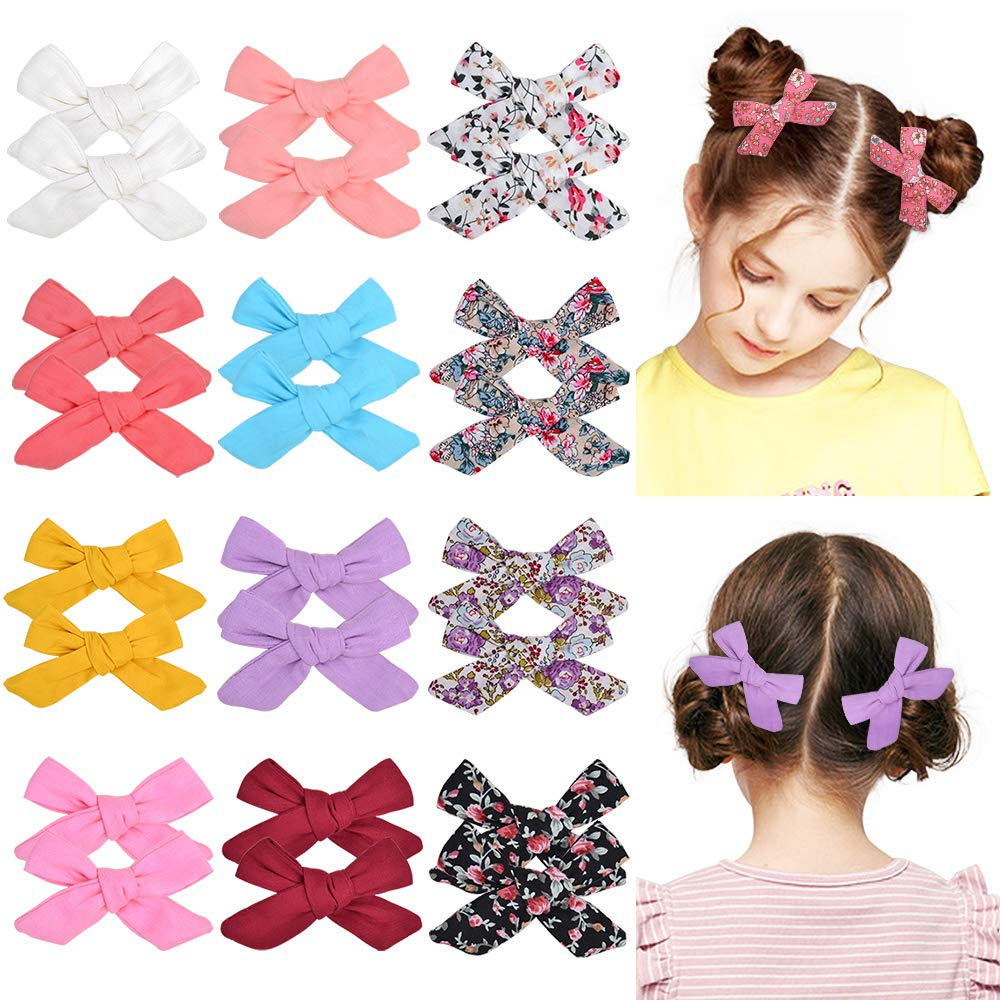 Baby Girls Hair Bow Clips 12 Assorted Colors Barrettes Hair Alligator Clips for Newborns Infants Toddlers and Kids (Mixed color)