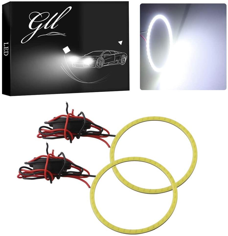 GrandviewTM White 2X 70mm 60SMD COB Led Angel Eyes Headlight Halo Ring Warning Lamp