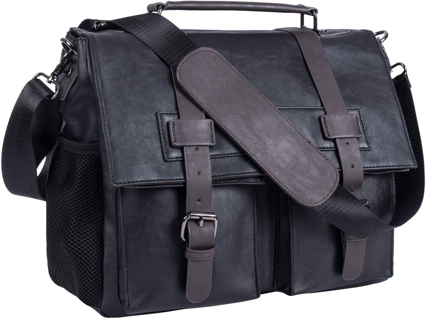 Leather Camera Bag, Waterproof Vintage DSLR SLR Shockproof Camera Shoulder Messenger Bag Compatible for Canon Sony Nikon -Black