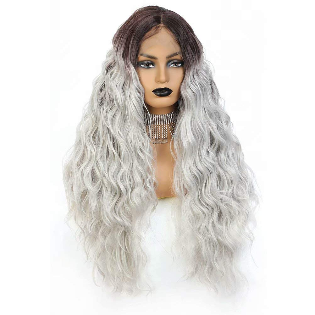 JulyQueen Deep Wave Lace Front Wig Middle Part Long Wavy Heat Resistant Synthetic Hair Wig for Women