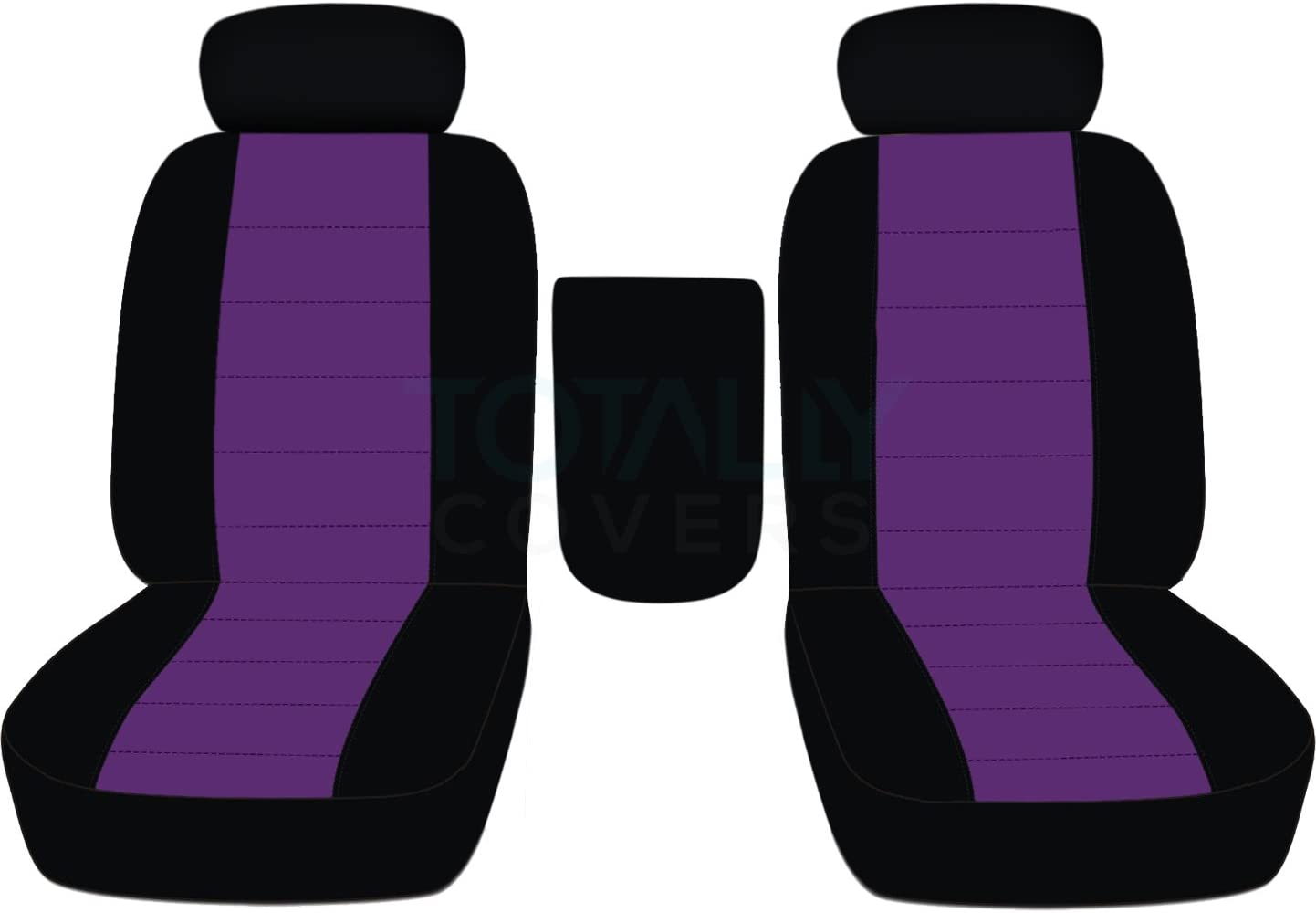 Totally Covers Compatible with 2001-2003 Ford F-150 Two-Tone Truck Bucket Seat Covers with Center Armrest, Adjustable Headrests, w/wo Integrated Seat Belts: Black & Purple (21 Colors) F-Series F150