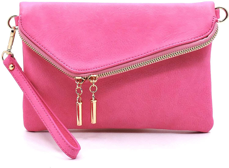 Janin Handbag Envelope Foldover Wristlet Clutch Crossbody Bag with Chain Strap