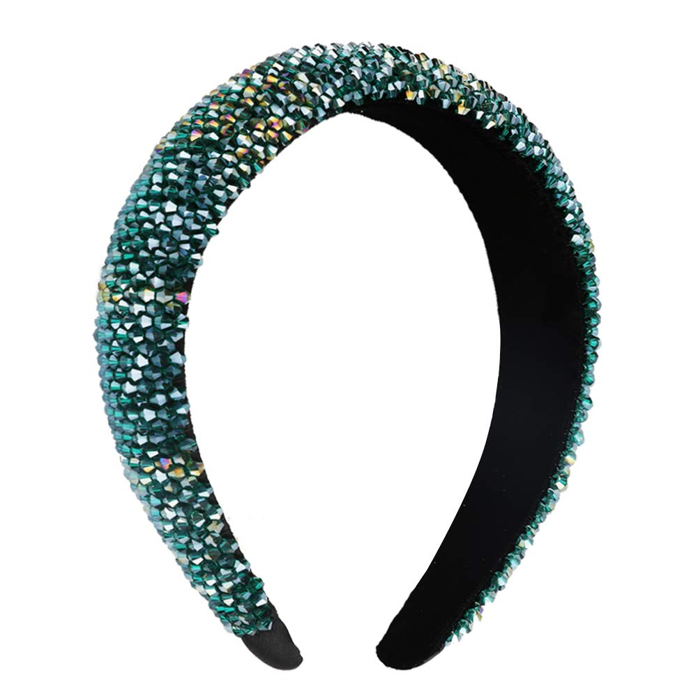 Velvet Padded Rhinestone Headband for Women Crystal Embellished Hair Hoop Races Goth Wedding Headpiece Fashion Hair Accessory(Blue-green)