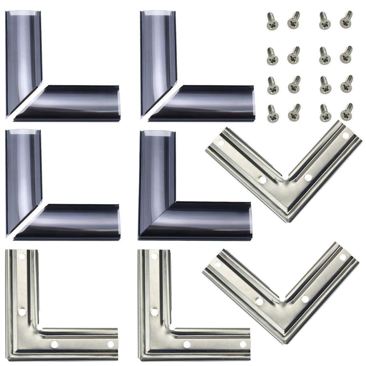 Muzata L-Shape Adaptor X4 Pairs and L-Shape Connectors 4PCS for U1SW U-Shape Black U Shape LED Aluminum Channel System with Smoke Clear Cover, Channel Corner kit LCC1 BB C1, LA1 LC1