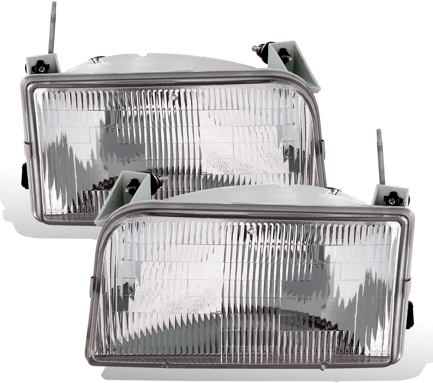 AmeriLite Chrome Clear Replacement Headlight Set for Ford F150 F250 F350 Bronco w/Bulb