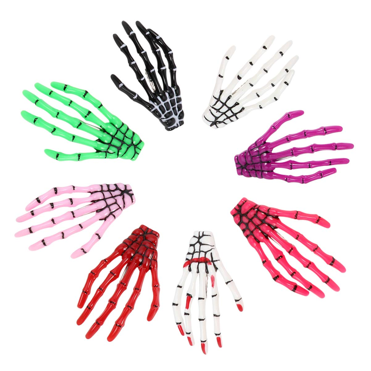 PIXNOR Halloween Hairpins, 8Pcs Skeleton Claws Hand Hair Clips, Ghost Claw Horror Barrette, Fluorescent Hair Accessories for Halloween Cosplay Party