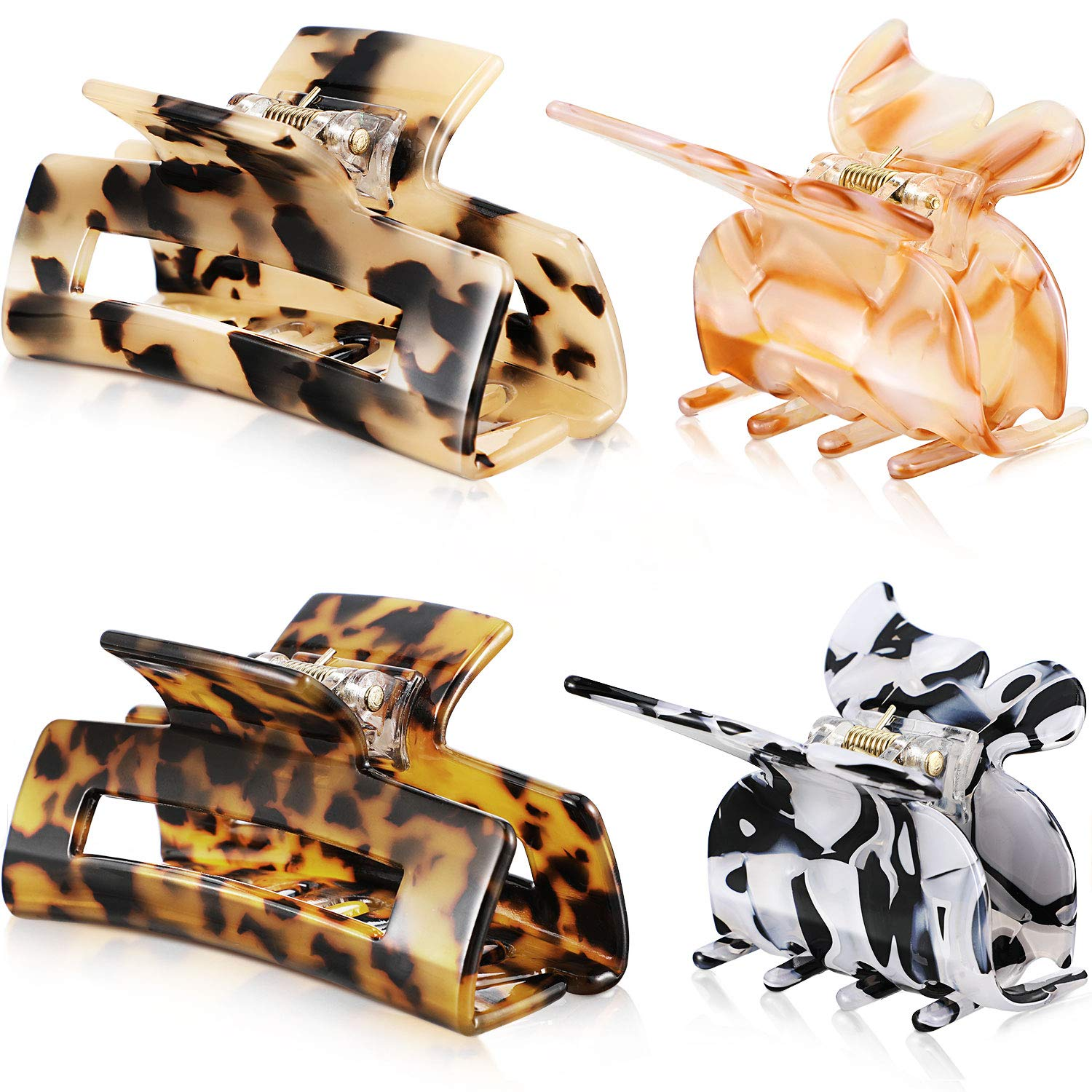4 Pieces French Design Large Hair Claw Clips Cellulose Acetate Hair Clips Tortoise Barrettes Celluloid Leopard Print Large Hair Accessories for Women Girls (Retro Pattern Series)