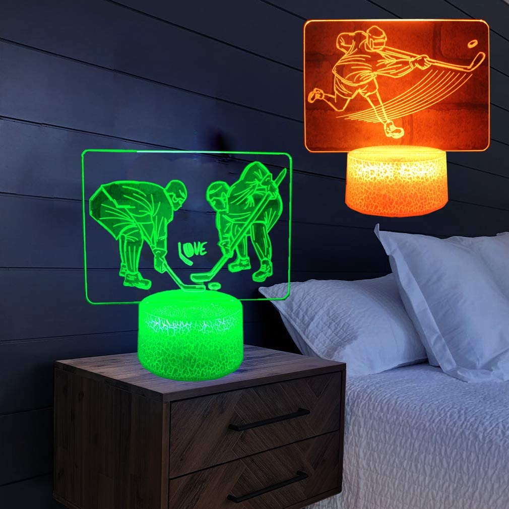 2PC Ice Hockey Palyer 3D Night Light,16 Colors LED Illusion Lamp Kids Bedside Lamps with Touch&Remote Control for Kids Room Decor Children Xmas Birthday Gift Toy+ 2PC 3D Sticker