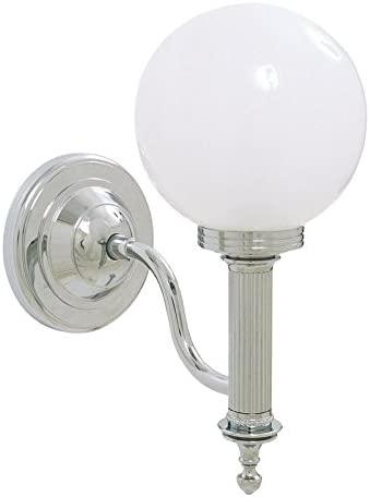 Valsan 30954NI - Ibis Bathroom Wall Light Polished Nickel Finish with Glass Ball Shade