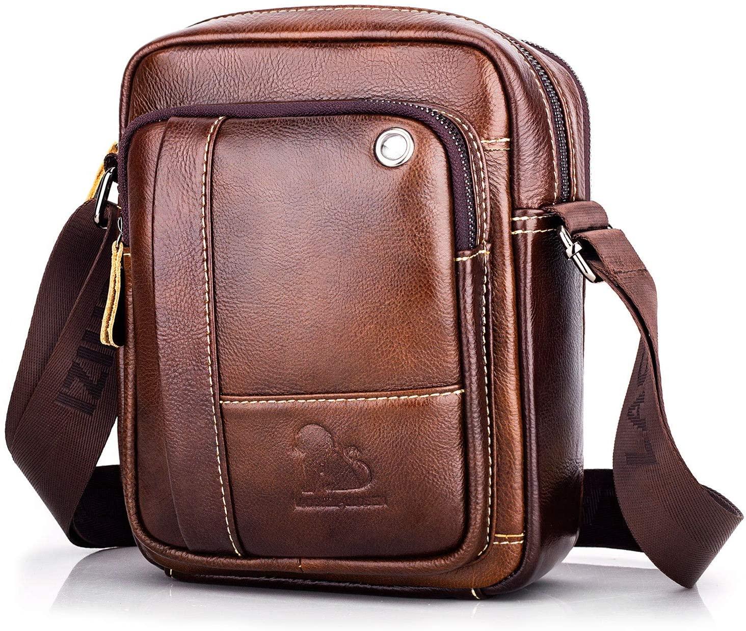 Men's Leather Cross Body Bag Casual Messenger Satchel Side Bag for Wallet Purse Mobile Phone Keys (Brown)
