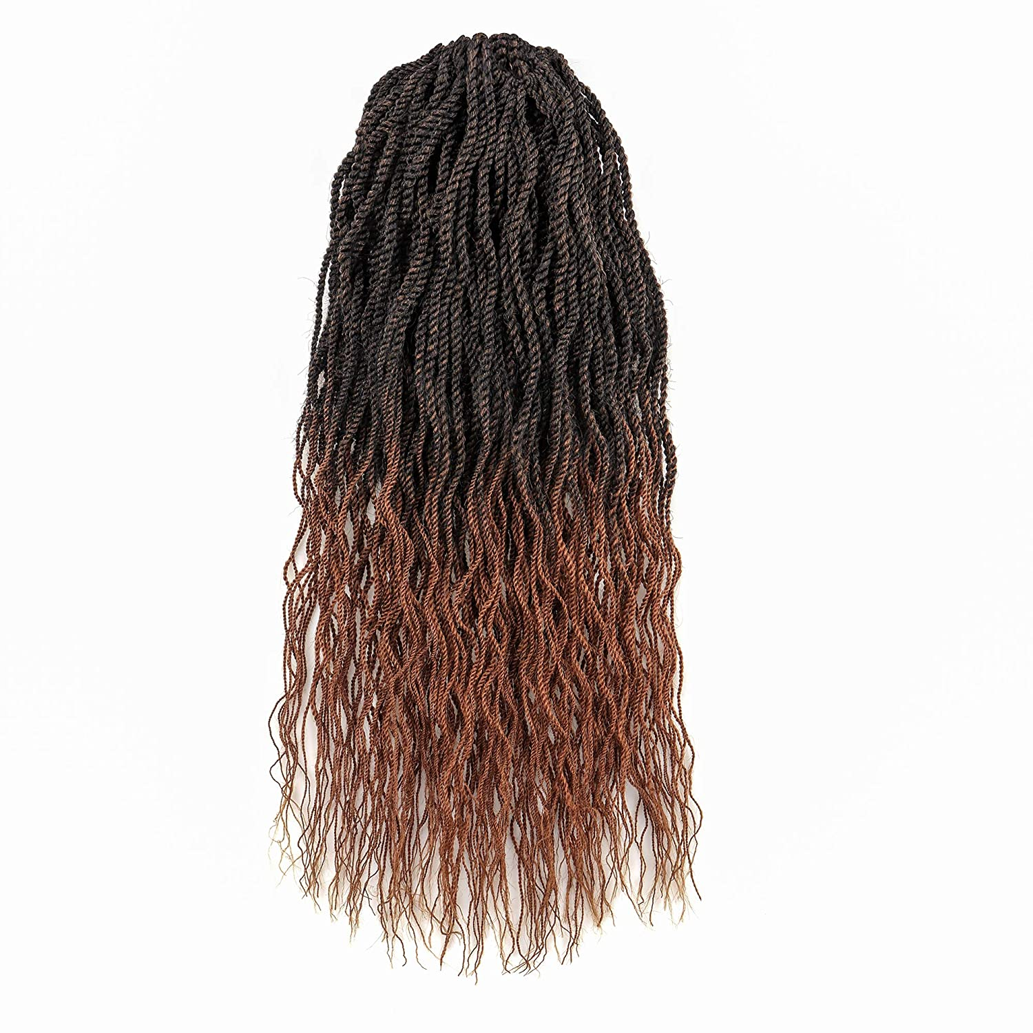 Wavy Senegalese Twist Crochet Hair 20Inch 7Packs Braids Wavy Ends Synthetic Hair Extensions Kanekalon Curly Crochet Twist Braiding Hair (20 Inch, T30)