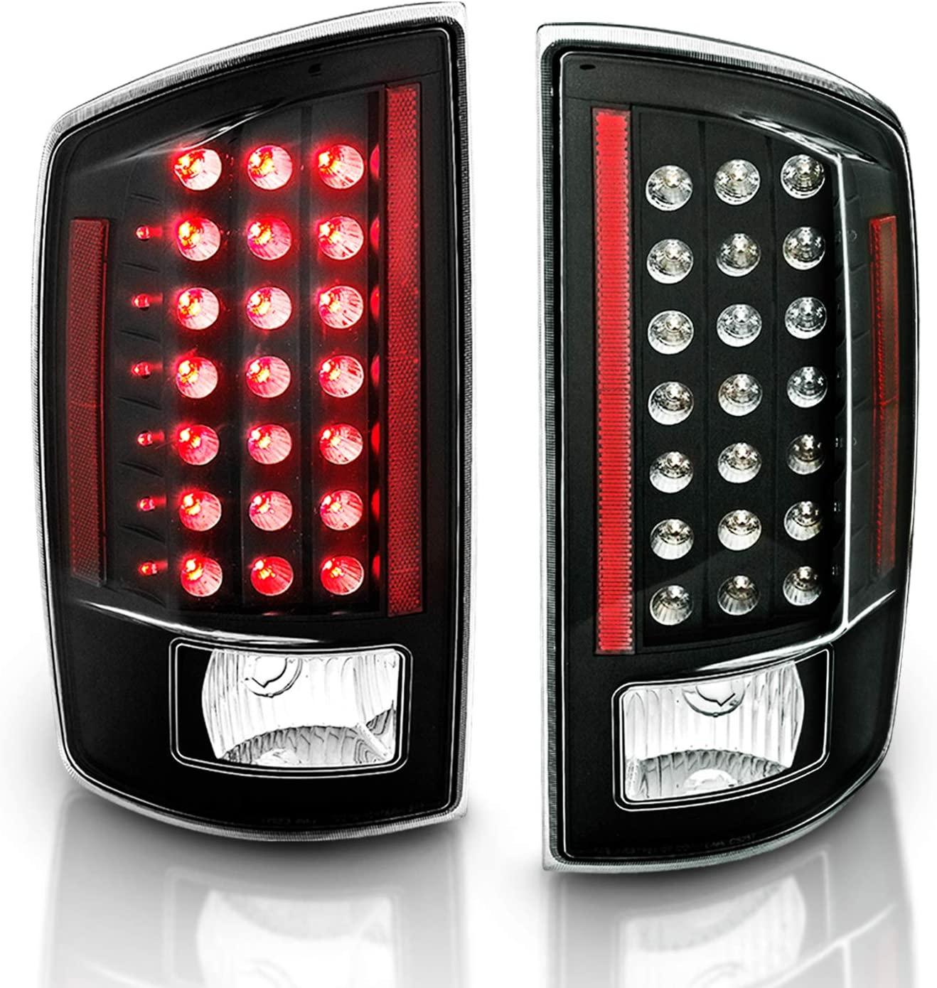 AmeriLite Black LED Tail Lights for Dodge Ram - Passenger and Driver Side