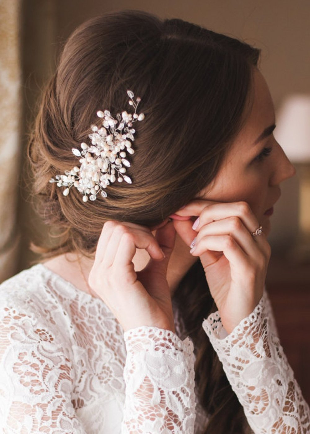 Kercisbeauty Handmade Wedding Crystal Hair Combs with Pearls for Brides Rustic Wedding Hair Accessories for Women Bridal Headpiece(Gold)