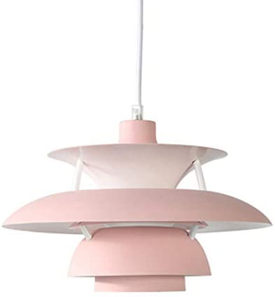 KY LEE Nordic Modern UFO Chandelier Children's Room Aluminum Bar Western Restaurant Living Room Bedroom Bedside Partition Porch Corridor Stairs Ceiling Lamp Simple and Durable Pink