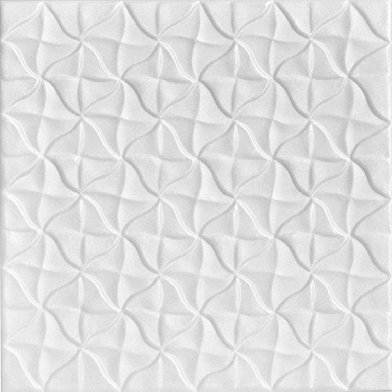 A La Maison Ceilings R55 Granny's Pinwheel Foam Glue-up Ceiling Tile (21.6 sq. ft./Case), Pack of 8, Plain White