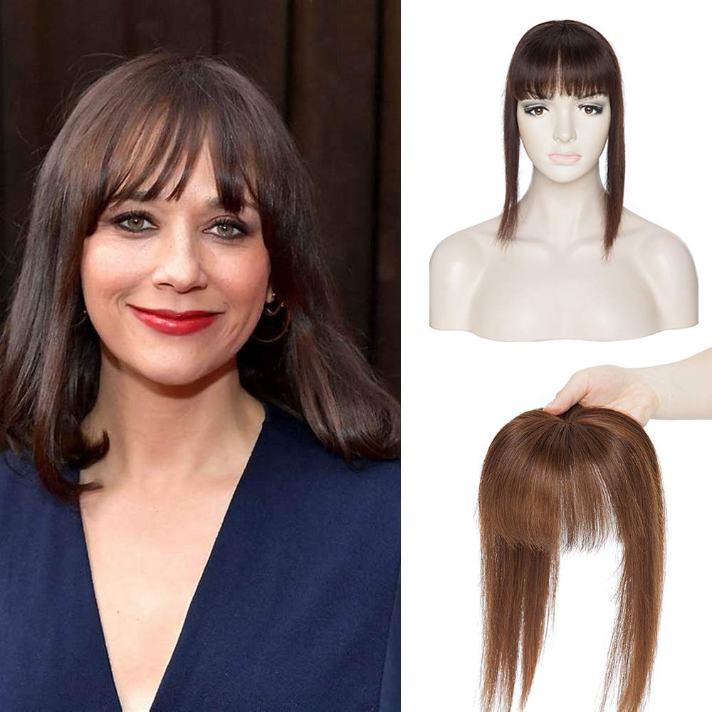 100% Real Human Hair Topper with Bangs Mono Base Crown Topper Hair Piece Clip in on Hair Toppers Straight Middle Part Top Hairpiece for Women with Hair Loss Thinning Hair 14 Inch 4# Medium Brown