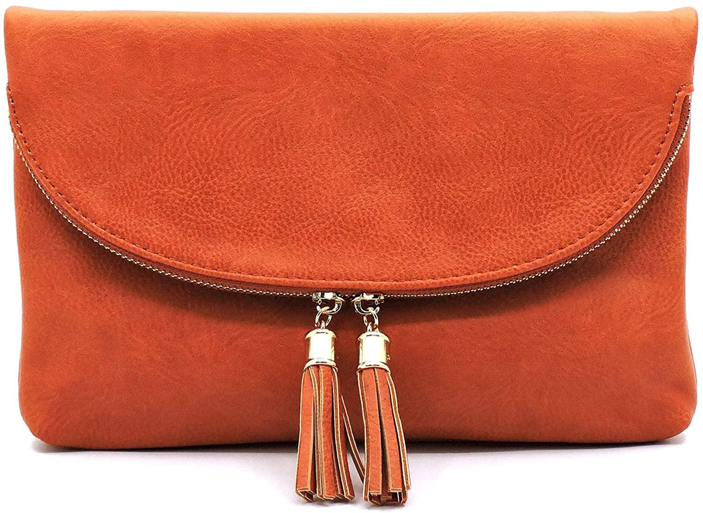 Janin Handbag Envelope Clutch Crossbody Bag with Tassel Vegan Leather
