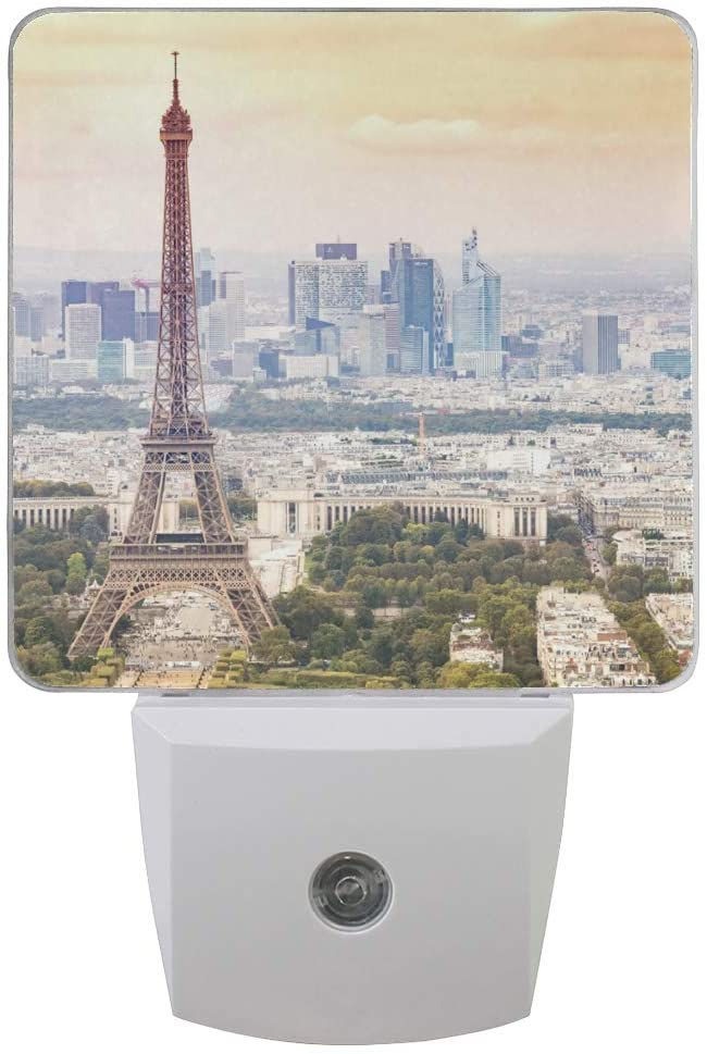 Naanle Set of 2 Sunset Eiffel Tower and Paris City View Cityscape Romantic French Auto Sensor LED Dusk to Dawn Night Light Plug in Indoor for Adults