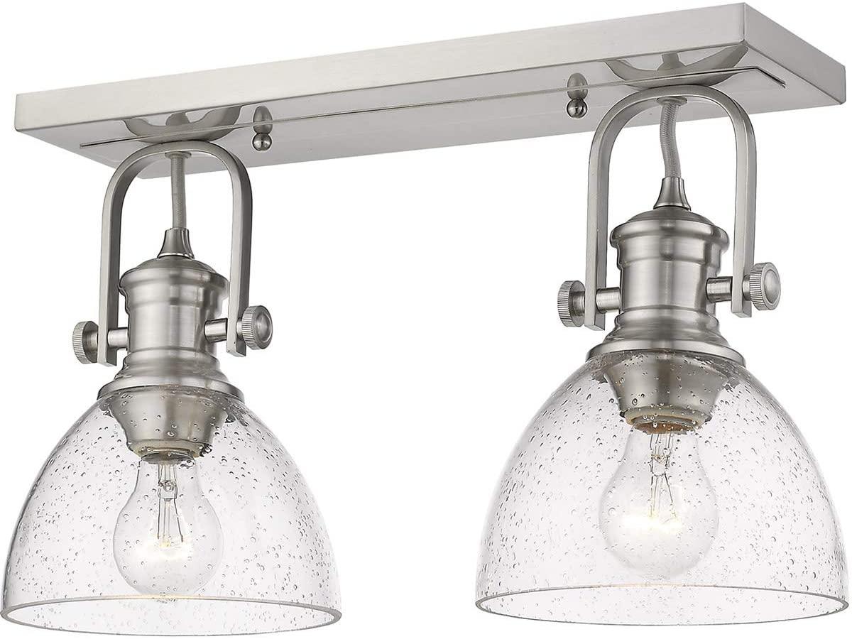 Golden Lighting 3118-2SFPW-SD Hines - Two Light Semi-Flush Mount, Pewter Finish