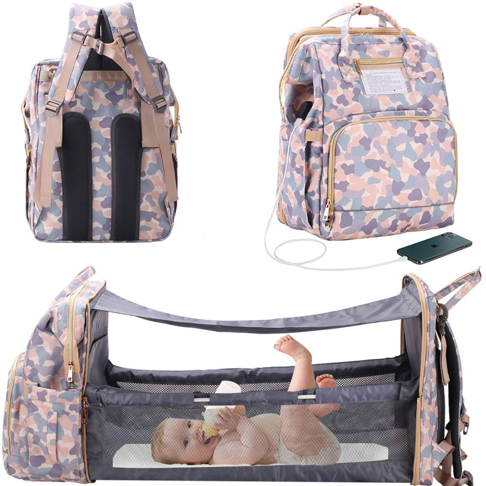 3 in 1 Travel Bassinet Foldable Baby Bed, Diaper Bag Backpack Changing Station, Large Capacity, Waterproof, USB Charging Port (Camouflage)