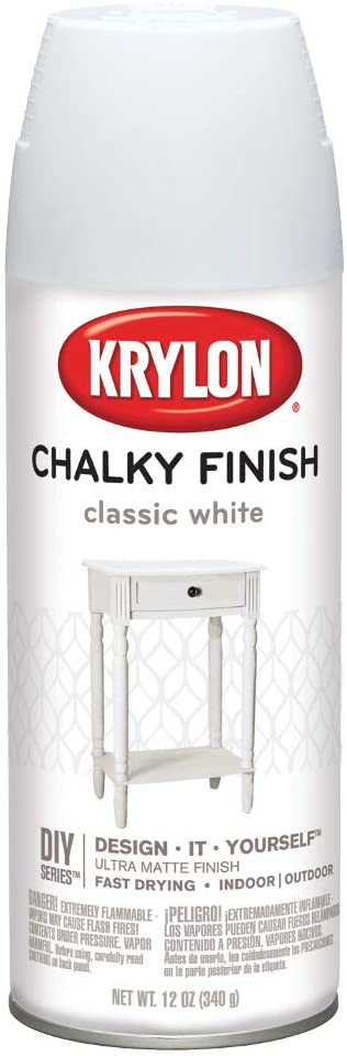 Krylon K04101000 Spray Paint, Aerosol, Classic White, 12 Oz