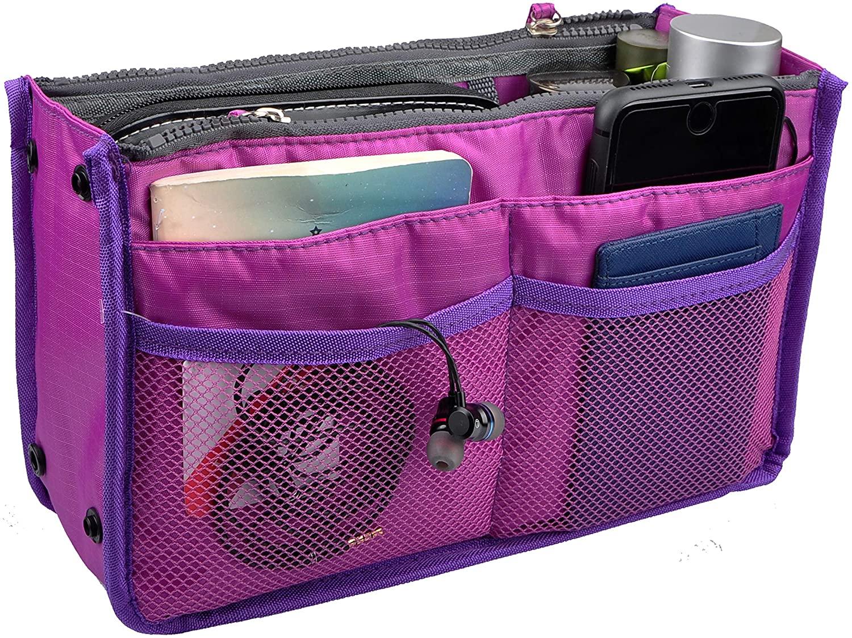 Vercord Updated Purse Handbag Organizer Insert Liner Bag in Bag 13 Pockets Purple Large