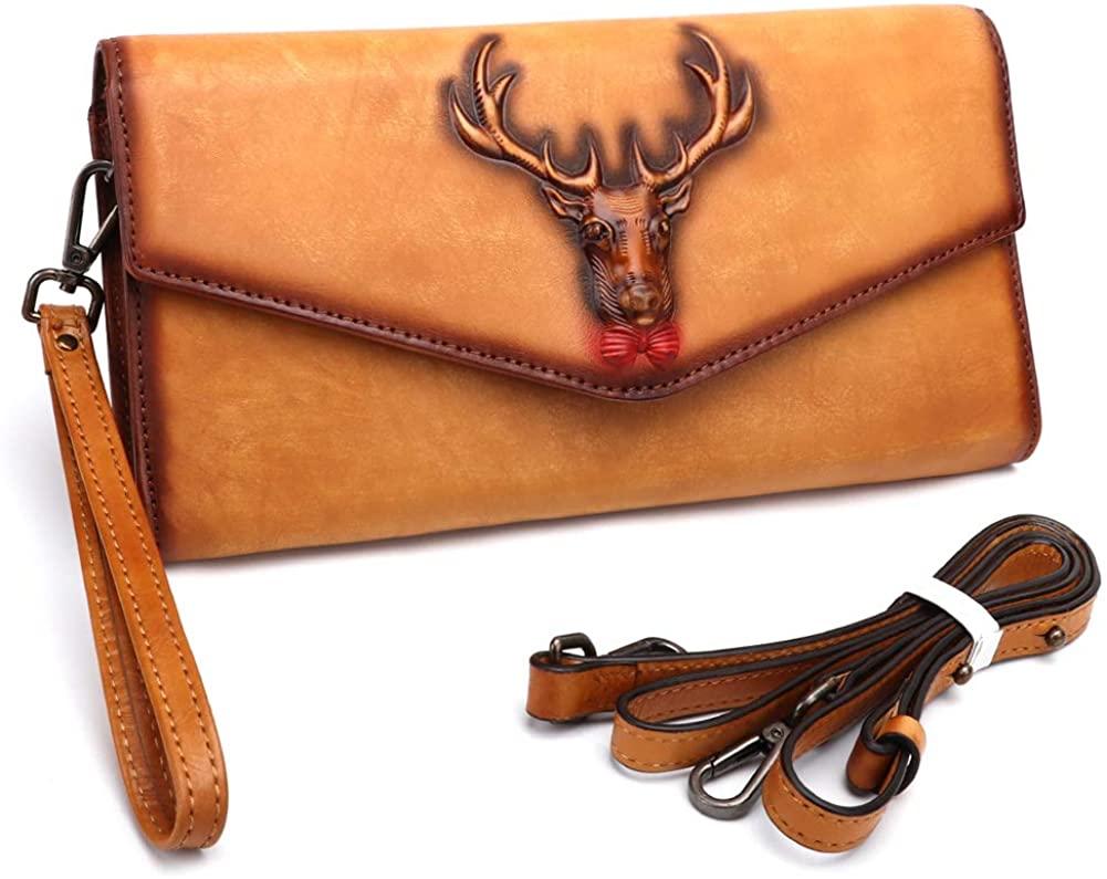 Genuine Leather Wristlets Clutch for Women Vintage Handmade Emossing Dual Use Bag