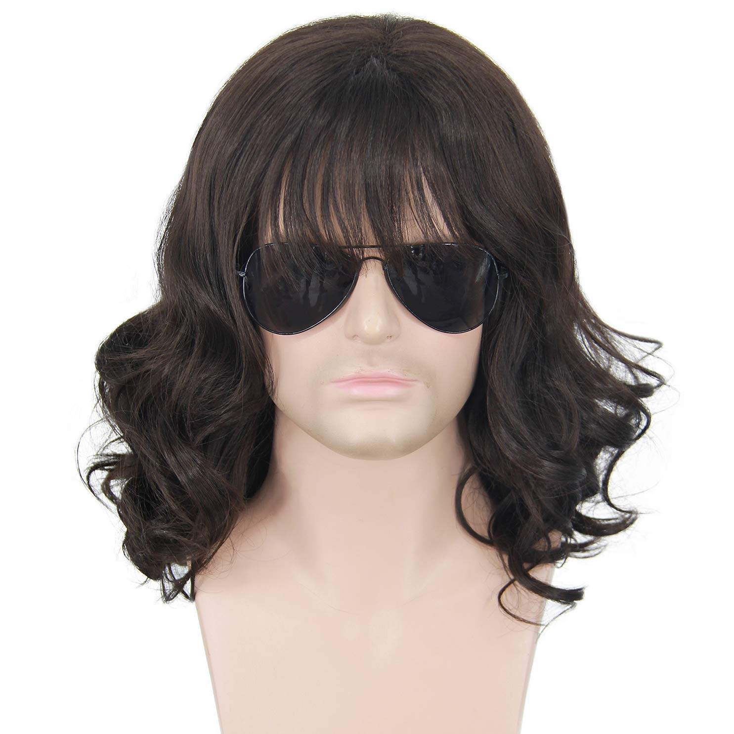 70s 80s Rocker Mullet Wig for Men Black Long Curly Hair Wigs Halloween Male Punk Heavy Metal Rock Star Cosplay Custume Anime Wig with Glasses 009