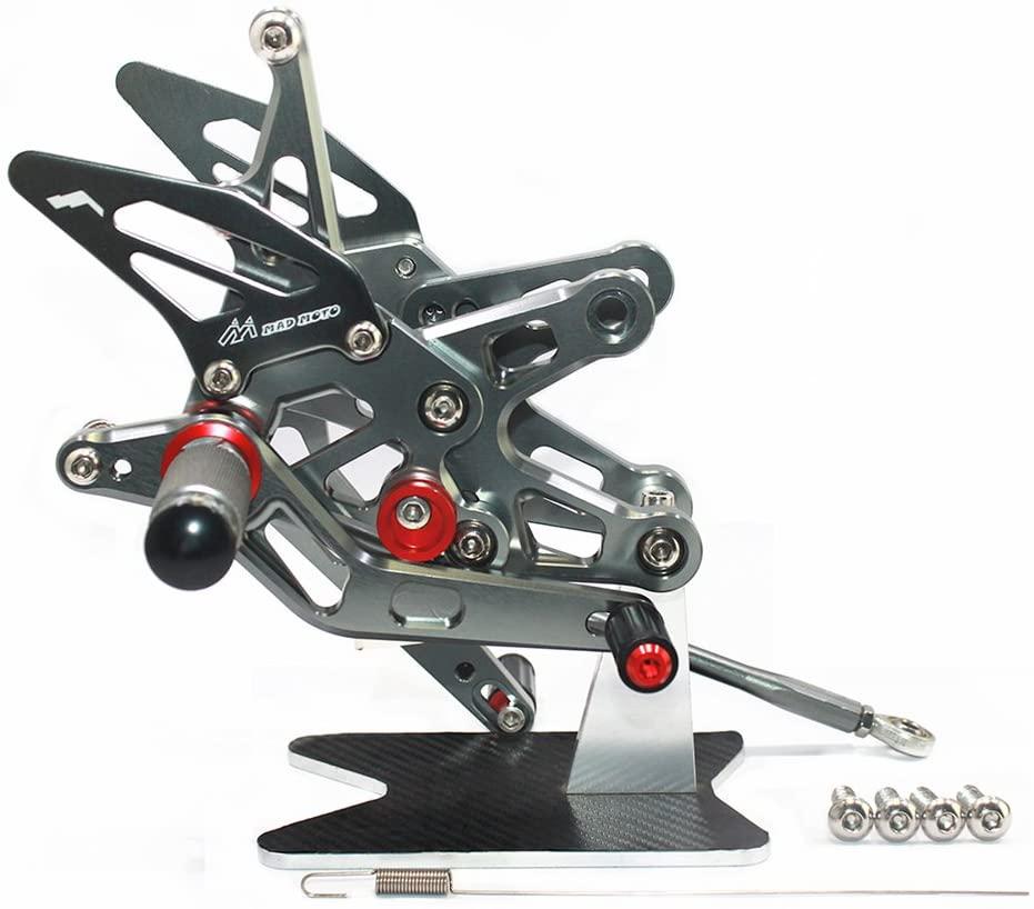 MADRACING 07-08 CBR600 CBR600RR Motorbike Adjustable Rearsets CNC Aluminum (Titanium)
